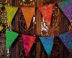 Gypsy Rainbow All Batik Flag Garland 12 Feet m) Pennant Template, Flag Garland, Mini Flags, Prayer Flags, Color Effect, Mini Quilts, Rainbow Colors, Fabric Crafts, Etsy Shop
