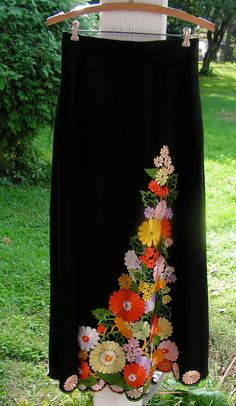 70s Hippy Maxi Skirt Black with Embroidery Cutout by curioscity, $30.00