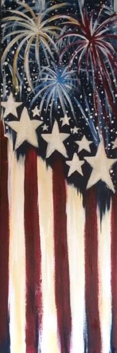View Paint and Sip Artwork - Pinot's Palette Flag Painting, Diy Painting, Diy Canvas, Canvas Art, Canvas Ideas, Painting Canvas, Fourth Of July, 4th Of July Wreath, Canvas Painting Tutorials