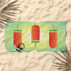 Watermelon Ice Lollies Beach Towel by queenielamb | Society6