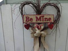Valentine Wreath, Valentine Heart, Valentine Gifts, Heart Decorations, Valentine Decorations, Heart Wreath, Grapevine Wreath, Primitive Wreath, Indoor Wreath