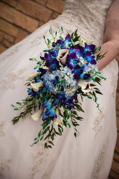 Cascading boquet with blue dyed dendrobium orchids, white calla lillies (with purple centers), and blue hydrangeas Purple Orchid Bouquet, Blue And Purple Orchids, Purple Orchid Wedding, Blue Dendrobium Orchids, Orchid Bouquet Wedding, Bridal Bouquet Blue, Wedding Flowers, Calla Lillies Wedding, Blue Flowers