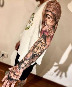 Fox x Tiger x Budah tattoo sleeve by lincolnlimatattoo
