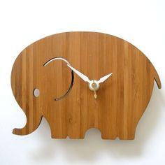modern baby elephant wall clock   decoylab via Etsy