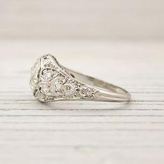 Image of 1.59 Carat Old European Cut Diamond Vintage Platinum Engagement Ring