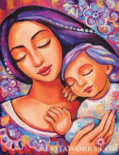 Mother and child mother and son nursery art newborn baby Madonna And Child Painting - Dreaming Together by Eva Campbell Mother And Child Painting, Painting For Kids, Art For Kids, Mother Art, Mother And Baby, Madonna And Child, Arte Popular, Mothers Love, Nursery Wall Art