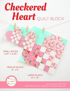 Checkered Heart quilt block - a welcome gift & free quilt pattern - ellis & higgs Hand Quilting, Machine Quilting, Patchwork Quilting, Beginner Quilt Patterns, Quilt Patterns Free, Quilt Tutorials, Heart Quilt Pattern, Pattern Blocks, Summer Quilts