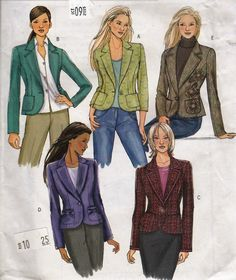 """Fitted Women's Blazer Jacket  -  One Button Pockets Lapels  - Size 6-12 Bust 30.5-34"""" - UNCUT- Sewing Pattern Butterick 4610 by Sutlerssundries on Etsy"""