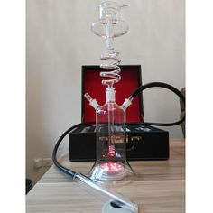 Glass hookah shisha with leather bag new rotating  twirl hookah glass spiral shisha water proof led hookah remote control light