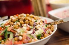 salad greek style with roasted chickpeas