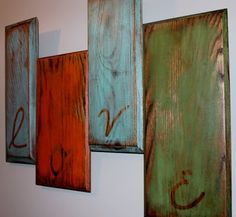 What a great way to fill up a big wall and reuse old cabinet doors too! I like this idea for Christmas decor too, maybe hanging from chains or something . . . hmmm.