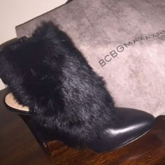 BCBG RUNWAY TASIA FUR BOOTIE Sold out online at BCBG.com and all other retailers, very rare! In their original box BCBG Shoes Heels