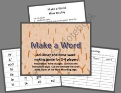 Make a word - onset and rime game product from Teaching-Products on TeachersNotebook.com