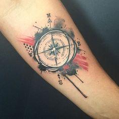Drippy little compass I did today #tattoo #tattoos #tattooart #tattooartist #compass #compasstattoo #watercolor #watercolortattoo #trashpolka #trashpolkatattoo #splash #splatter #blackandred #forearmtattoo #brushstroke #dripping