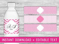 Printable Water Bottle Labels  Pink pink chevron by PurdyPrintsNYC