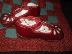 Vintage Red Mary Jane 1930s Children Shoes Old Store Stock Size 2 - The Gatherings Antique Vintage
