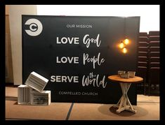 When a backdrop is more than a backdrop! Use yours as an anchor for a few accents to create a very inviting atmosphere. Pop Up, Backdrops, Signage, Environment, Church Stage Design, Popup, Backgrounds, Signs