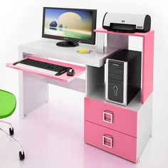 This Pink Computer Desk is perfect for the room theme, and the colors match really well! Computer Desk Design, Office Table Design, Desk Ideas Diy Bedrooms, Wooden Study Table, Long Desk, Study Table Designs, Music Corner, Girl Desk, Desk Inspiration