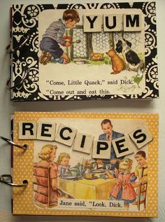Would make such a cute gift.  Vintage style recipe book (from A Bit of Heaven)