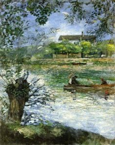 Pierre-Auguste Renoir - Willows and Figures in a Boat, c. 1880.
