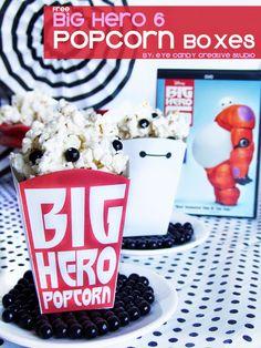 FREE Baymax Popcorn Boxes - Big Hero 6 on Eye Candy Creative Studio