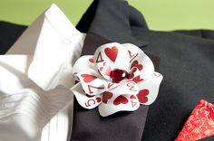 """""""Off with her head!"""" the Queen of Hearts cried, but it was only because she wanted Alice's beautiful Queen of Hearts Poker Card Boutonniere! Handcrafted from vintage, punched casino poker-cards, with"""