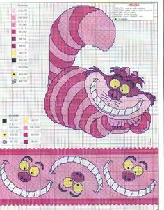Ponto cruz do Gato Chesshire (Gato da Alice no País das Maravilhas).  The Chesshire Cat from Alice in Wonderland cross stitch