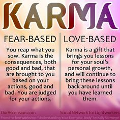 very interesting. this opened my eyes to see that I viewed karma as fear based. Lord help me to change my perspective to love based karma The Words, Karma Quotes, Me Quotes, Sarcastic Quotes, Citations Karma, Mantra, Wise Girl, Way Of Life, Life Thoughts