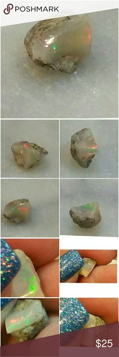 Genuine Ethiopian Fire Opal loose gem 3+ carats Raw from the earth and great for crafters.  Wire wrap, set as solitaire or even  cut down as 2cr or less gem. Please see all pictures for details.  Brand New. Wholesale Price. Jewelry
