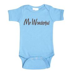 Lollipop Moon Baby Blue and Chocolate Mr. Wonderful Short Sleeve Baby Creeper. Baby blue Mr. Wonderful onesie for little boys. See More Bodysuits at http://www.ourgreatshop.com/Bodysuits-C204.aspx