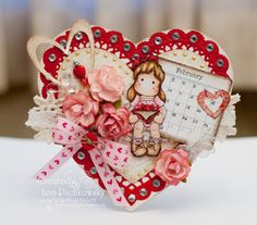 Valentine Heart with Tilda Valentine Day Love, Valentine Day Cards, Holiday Cards, Christmas Cards, Magnolia Colors, Beautiful Handmade Cards, Shabby, Tampons, Copics