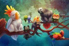 Tutorial - Digital Painting a Cute Lion by TsaoShin on DeviantArt Animation Process, Funny Parrots, Cute Lion, Futuristic Art, Manga Drawing, Deviantart, Bird Art, Mythical Creatures, Cool Artwork