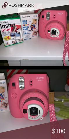 Polaroid camera Insta Mini 9 camera With film included! I used about two times Other Polaroid Camera Film, Instax Mini Camera, Fujifilm Instax Mini, Chocolate Panna Cotta, Instax Film, Birthday Party For Teens, Lava Cakes, Times, Closet