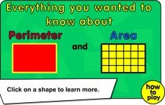 A fun and useful area and perimeter 2D shape tutorial and interactive activities for your whiteboard. Learn Great Game! how to find the area and perimeter of rectangles and triangles and then complete the questions.