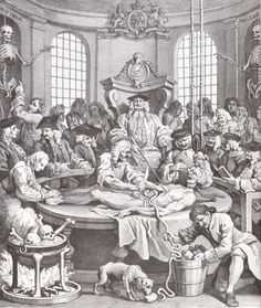 """""""The Reward of Cruelty,"""" the last plate of William Hogarth's Four Stages of Cruelty, depicts the cycle's subject dissected in an anatomical theater"""