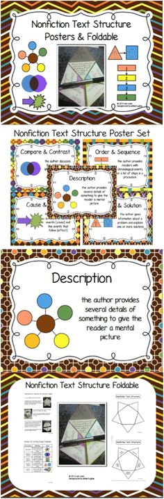 Five posters for nonfiction text structures: Description, Problem and Solution, Cause and Effect, Order and Sequence, Compare and Contrast. Reading Strategies, Reading Activities, Reading Skills, Literacy Activities, Teaching Reading, Reading Comprehension, Teaching Ideas, Learning, 6th Grade Ela