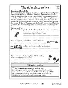 How plants adapt to habitat - Worksheets & Activities | GreatSchools