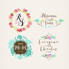 2 X Custom Names Rubber Stamp Hand Drawn Monogram Personalized Wedding Or Engagement Gift