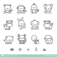 MAMA ELEPHANT: Lunar Animals x 6 Clear Photopolymer Stamp Set) Set includes Lunar Animals: seventeen image stamps. *Coordinates with Lunar Animals Creative Cuts die. Doodle Drawings, Easy Drawings, Simple Animal Drawings, Easy Drawing Designs, Drawing Ideas Kids, Drawings Of Animals, Cute Small Drawings, Mini Drawings, Tier Doodles
