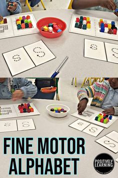 Fine Motor Alphabet - three low-prep centers to add fine motor fun to alphabet practice! Add fine motor resources you already have in your classroom...popsicle craft sticks, pom poms, and connecting math cubes.
