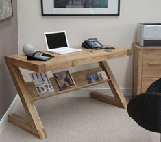 Superb contemporary solid oak 'Z' shaped computer desk ideal for your laptop or computer. This stunning range is a unique designer collection constructed from 100% solid oak with no veneers. Part of our Zuma Solid Oak contemporary furniture range. | eBay!