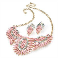 Pastel Pink Feathered Wing Collar Necklace & Earrings Set