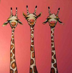 3 Giraffes in Pink - Eli Halpin