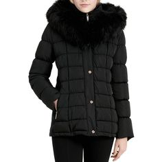 Calvin Klein Faux Fur Trim Puffer Coat (2.665 CZK) ❤ liked on Polyvore featuring outerwear, coats, black, faux fur trim puffer coat, puffer coat, faux fur trim coat, calvin klein and puffy coat