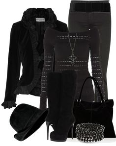 """Just BLACK!"" by brendariley-1 on Polyvore"