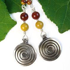Spiral Earrings Mookaite Jasper Yellow and Red Brown Handmade Jewelry | PrettyGonzo - Jewelry on ArtFire