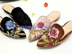 Womens Floral Slippers Fashion Flat Summer Pointy Toe Sandals Shoes All Us Sz