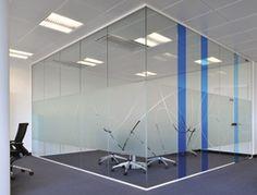 Frameless glass partitioning.