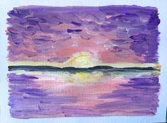 Items similar to Hand-Painted Purple Sunrise Card // Small Acrylic, Impressionist, Ocean Landscape Painting // Colourful Sky Blank Note Card on Etsy Paint Cards, Landscape Paintings, Original Artwork, Sunrise, Greeting Cards, Ocean, Hand Painted, Sky, Colorful