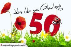 Geburtstagskarte mit Blumenwiese zum 50. Geburtstag - Geburtstagssprüche-Welt